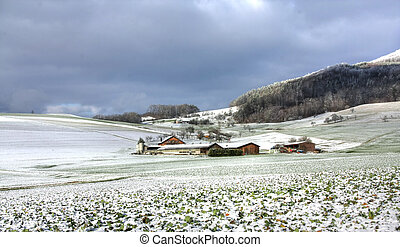 lantgård, scen, (hdr), vinter