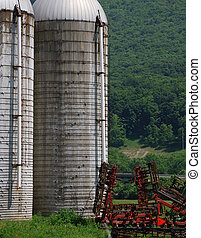 lantgård, siloer, och, skörd, plantande, maskiner