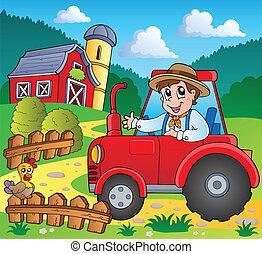 lantgård, tema, avbild, 3