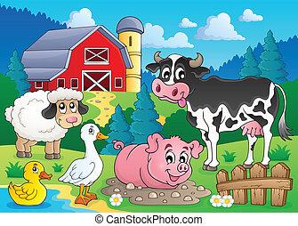 lantgård, tema, djuren, avbild, 3