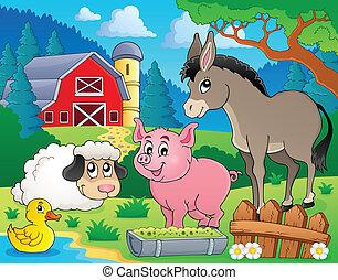 lantgård, tema, djuren, avbild, 6