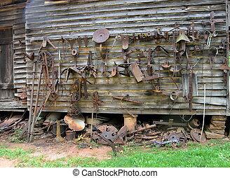 lantgård utrustning, del, gammal