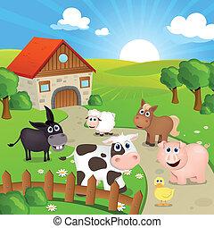 lantgård, vektor, djuren
