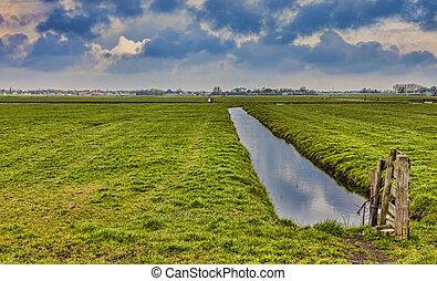 lantlig, nederländsk, landskap