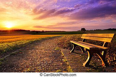 lantlig, solnedgång, färgrik, idyll