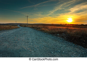lantlig, solnedgång, väg