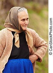 lantlig, uppriktig, kvinna, äldre porträtt