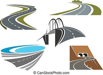 lantlig väg, bro, tunnlar, motorvägen