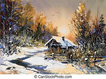 lantlig, vinter landskap