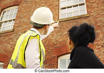 lantmätare, eller, byggmästare, och, husägare, tittande vid,...