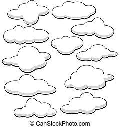 lanuginoso, vettore, nubi, illustrazione