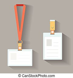 Lanyard badges flat design