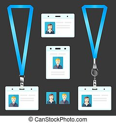 Lanyard, name tag holder end badge, id, template