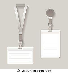 Lanyard, name tag holder end badge templates vector