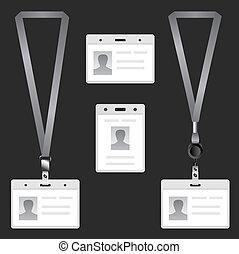 Lanyard, name tag holder end badge, templates, vector