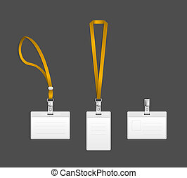 Lanyard, name tag holder end badge templates vector ...