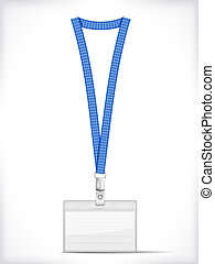 Lanyard with Tag Badge Holder isolated on white. Vector ...