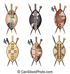 lanza, conjunto, protector, zulú, club, assegai, africano