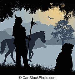 lanza, indio, siluetas, norteamericano, caballo, nativo