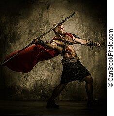 lanza, lanzamiento, chamarra, gladiator, herido, rojo