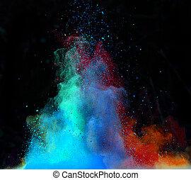 lanzado, colorido, polvo, encima, negro