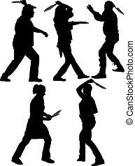 lanzador, silueta, cuchillo