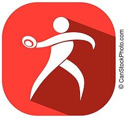 lanzamiento, atleta, cuadrado, disco, icono