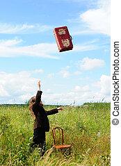 lanzamiento, el suyo, hombre, maleta