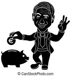lanzamiento, hombres, cerdito, banco moneda, euro