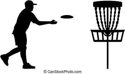 lanzamiento, jugador, disco, golf, cesta