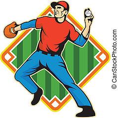 lanzamiento, jugador, pelota, cántaro, beisball