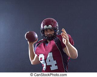 lanzamiento, jugador, pelota del fútbol americano ...