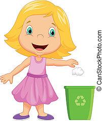 lanzamiento, niña, basura, joven, caricatura