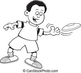 lanzamiento, niño, disco volador, caricatura