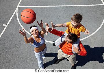 lanzamiento, pelota, hembra