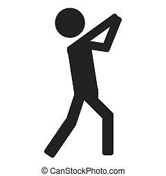 lanzamiento, persona, icono, deporte