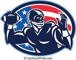 lanzamiento, qb, retro, quarterback, pelota