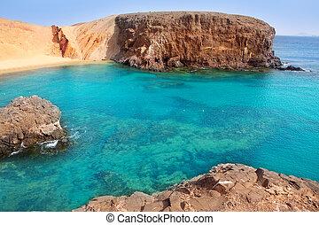 lanzarote, el, papagayo, playa, praia, em, canaries