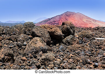 Lanzarote Montana Bermeja red mountain with volcanic lava ...