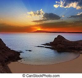 lanzarote, playa, papagayo, strand, solnedgang