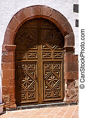 lanzarote  spain canarias   church door and white wall abstract