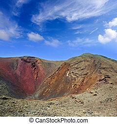 lanzarote, timanfaya, vulkan, krater, in, kanarienvögel