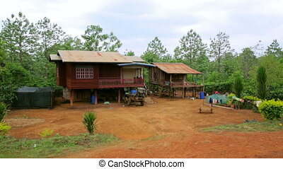 Lao village life around coffee planted Bolaven Plateau, Pakse, Laos