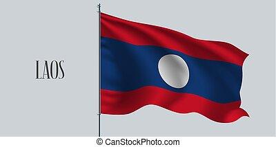 Lao waving flag on flagpole vector illustration. Three...