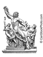 Laocoön and his Sons marble group, vintage engraving