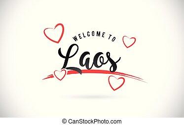 laos, accueil, à, mot, texte, à, manuscrit, police, et, rouges, amour, hearts.