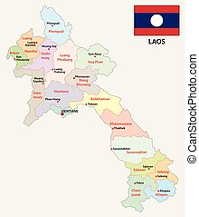 laos administrative and political vector map with flag