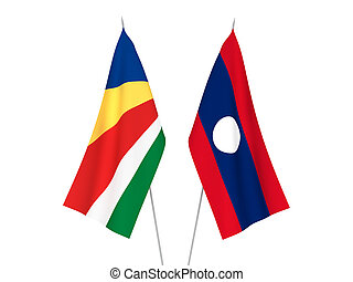 Laos and Seychelles flags - National fabric flags of Laos ...