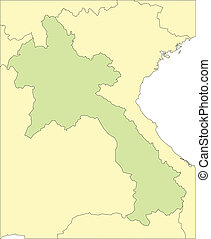 Laos and Surrounding Countries - Laos, editable vector map...
