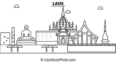Laos architecture skyline buildings, silhouette, outline...